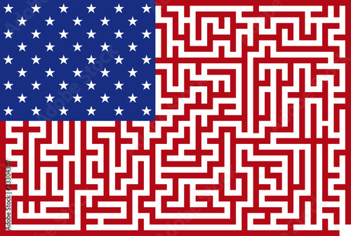 Conceptual Vector illustration of american maze flag
