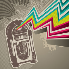 Designed retro banner with jukebox.
