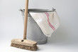 Old fashioned housekeeping with zinc bucket