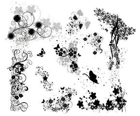 multi florals noirs