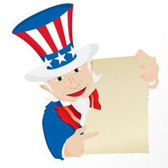 Uncle Sam Holding Sign.