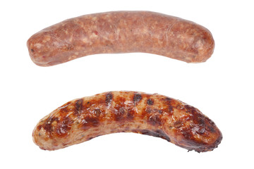 cooked and raw sausage