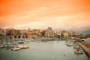 Heraklion harbour at sunset