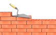 Trowel and bricks wall construction