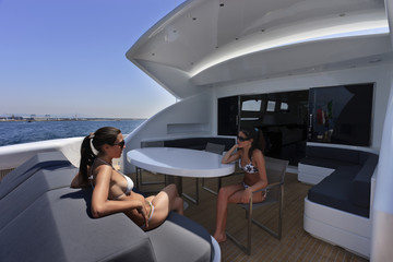 Italy, Tirrenian sea, off the coast of Viareggio, luxury yacht