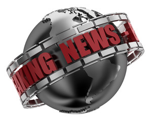 Breaking news globe including clipping path