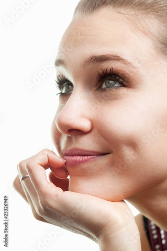 Face of happy beautiful woman isolated on white