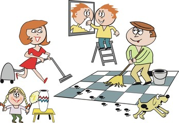 Family cleaning house cartoon