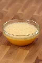 egg beaten in a fancy glass bowl