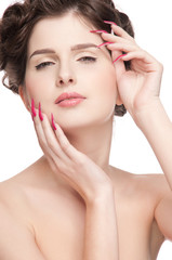 Close up portrait of beauty woman with perfect skin and red nail