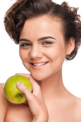 Closeup portrait of beauty woman with green apple