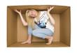 Woman inside a Cardboardbox