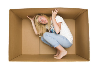 Woman inside a Cardboard Box