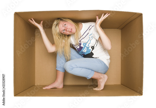 Woman inside a Cardboardbox