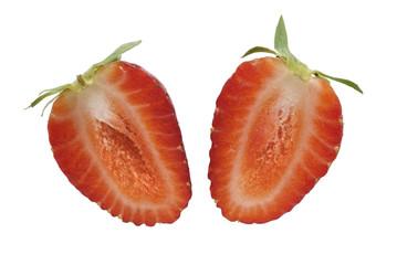 Fresa abierta en dos mitades