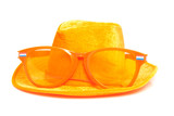 Orange soccer accessory over white background