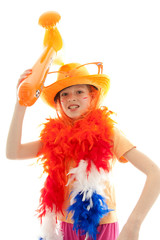 young dutch soccer supporter over white background