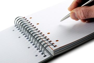 scrivere appunti su quaderno