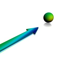 3D arrow and sphere