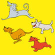 Vector set of funny dog illustration cartoon comic