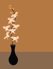 Vector Orchid in a Vase