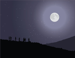 Vector illustration of a group of people watching the stars.