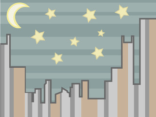 Cityscape abstract at night with stars and moon