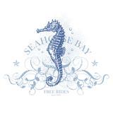 seahorse bay - retro summer design element poster