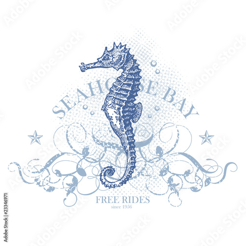 seahorse bay - retro summer design element