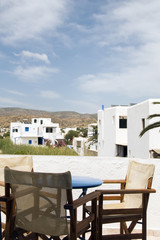 Greek island Ios hotel patio with view of classic architecture