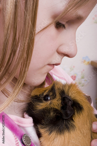little girl and her guinea pig