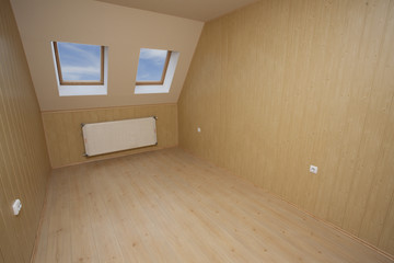 room in wooden materials