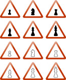trafic signs with chess pieces