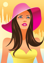 fashion girls with hat - vector illustration