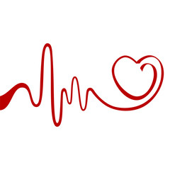 Heart and ecg from red ribbon