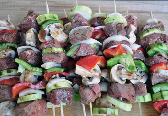 Beef Skewers ready for grilling