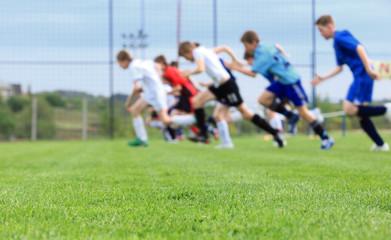 Running, football training on sports venue