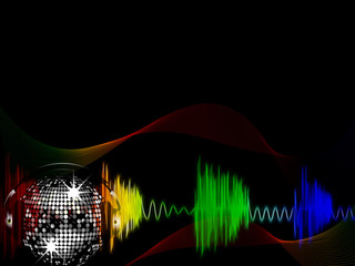neon sound waves, disco ball and swirls