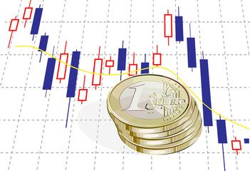 vector financial concept with 1 euro coins and chart