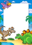 Prehistoric frame with dinosaurs poster