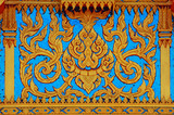 Thai style molding art with blue glass. poster