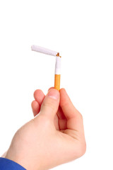 person with broken cigarette isolated on the white
