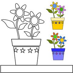 vaso di fiori da colorare