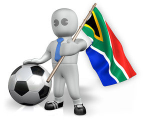 A South Africa football fan with a flag and a ball in South Afri
