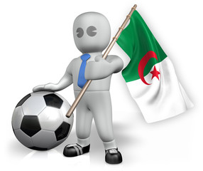 An Algeria football fan with a flag and a ball in South Africa