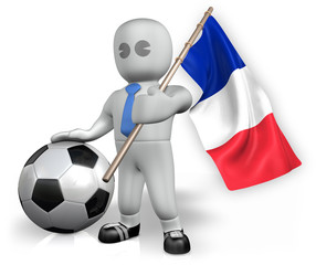 A France football fan with a flag and a ball in South Africa