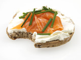 Halved Wholemeal Bagel with Smoked Salmon and Cream Cheese