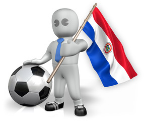 A Paraguay football fan with a flag and a ball in South Africa