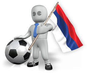 A Serbia football fan with a flag and a ball in South Africa