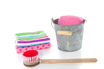 cleaning equipment and a bucket for Spring cleaning isolated ove